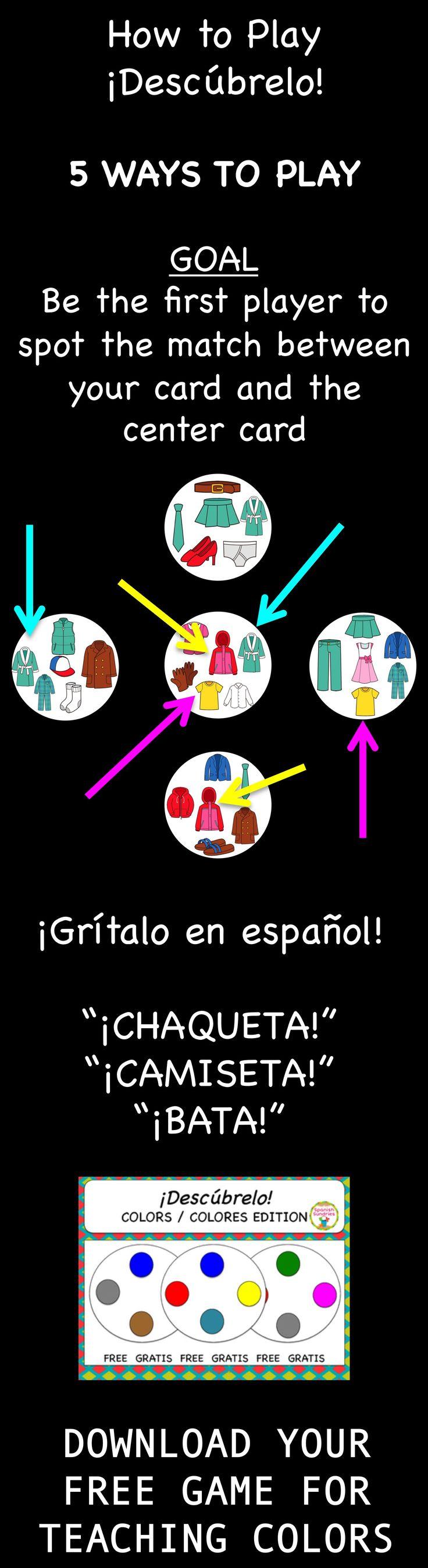 FREE Spanish vocabulary game - Descúbrelo (like Spot-it)