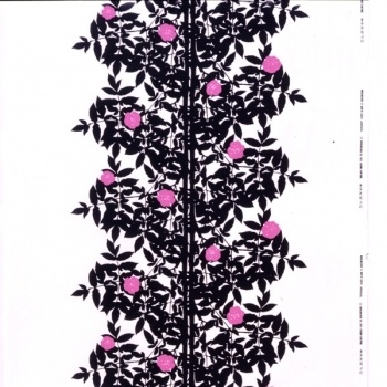 Ruusupuu kangas        Valmistaja: Marimekko      Design: Maija Isola, Kristina Isola