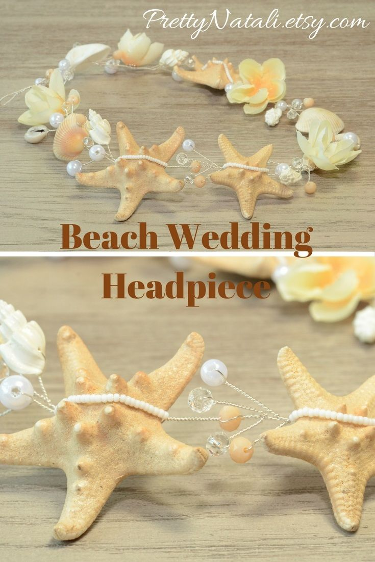 Lovely Beach Wedding Headpiece with real starfishes, ivory color artificial flowers, sea shells, seed beads, beads and crystals. Great idea for beach wedding, destination wedding, beach party, music festival, for Mother of Bride, mermaid costume. #beachwedding #beachheadpiece #mermaidheadband #coastalwedding
