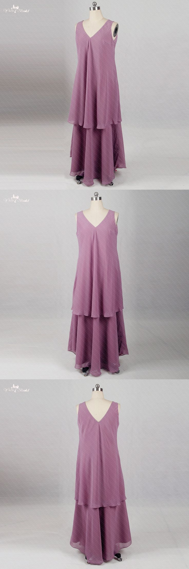 RSE289 V-Neck Long Chiffon Two Layers Skirt Cheap-Wedding-Guest-Dress Godmother Dresses Purple Mother Of The Bride Dresses