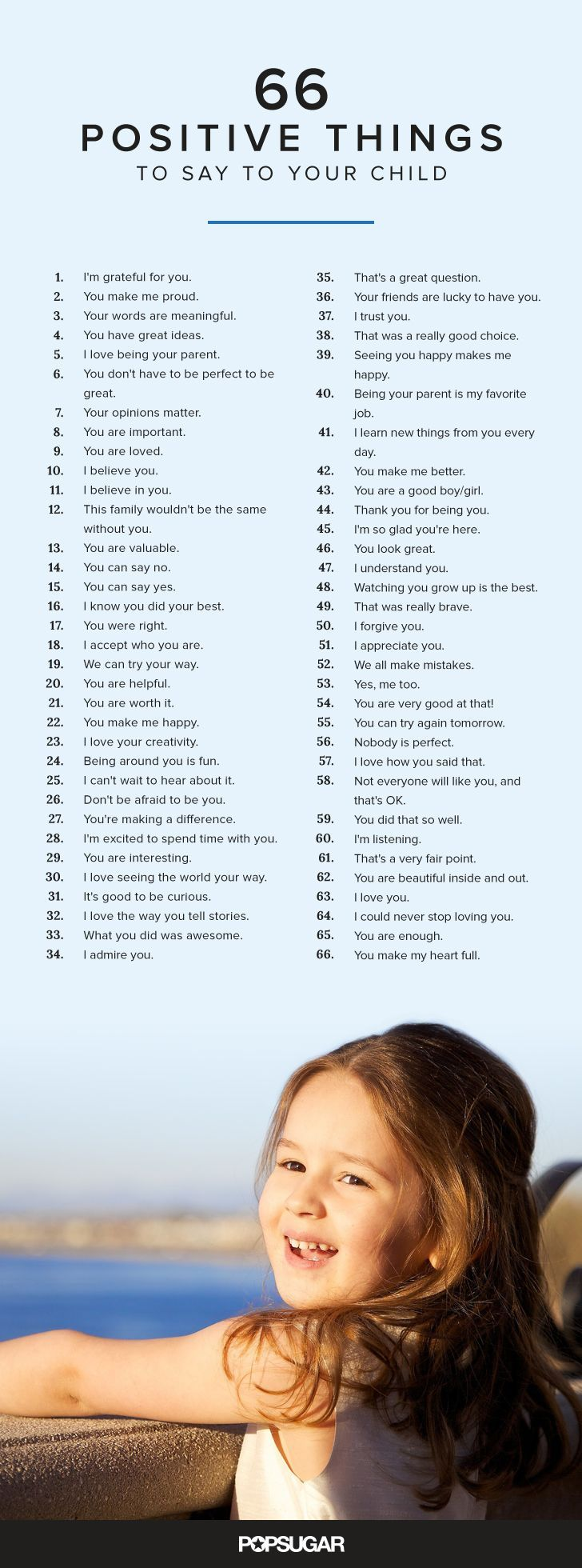 Whether you want to tell them how great they were at their soccer game, or how much you love spending time with them, here are 66 positive and encouraging things to say to your child on a daily basis.