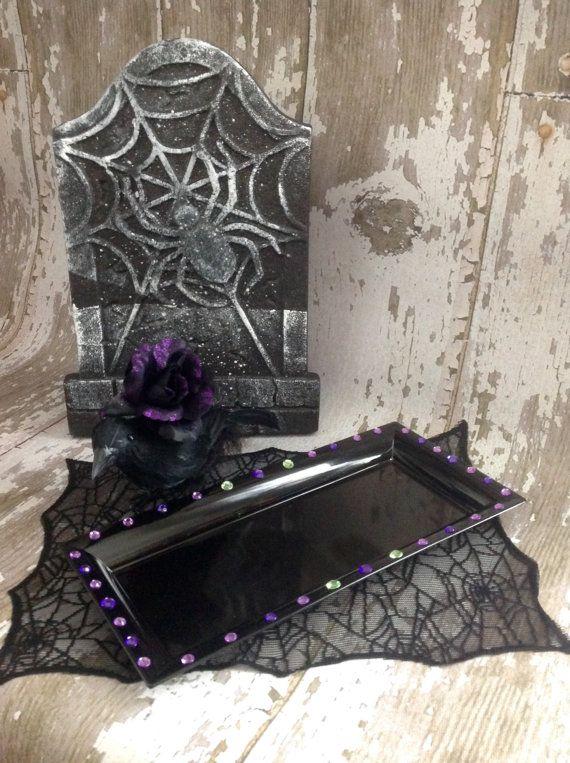 Black Purple and Green Rhinestone Rectangle Maleficent Tray