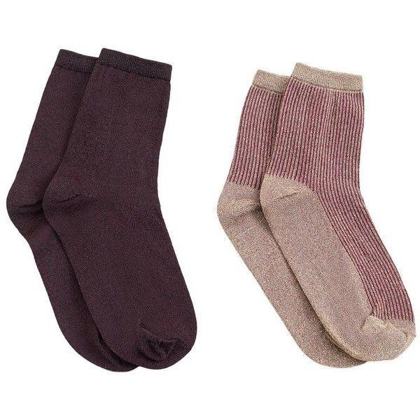 Metallic Ankle Socks Pack ($13) ❤ liked on Polyvore featuring intimates, hosiery, socks, cable knit socks, metallic socks, ankle socks, short socks and tennis socks
