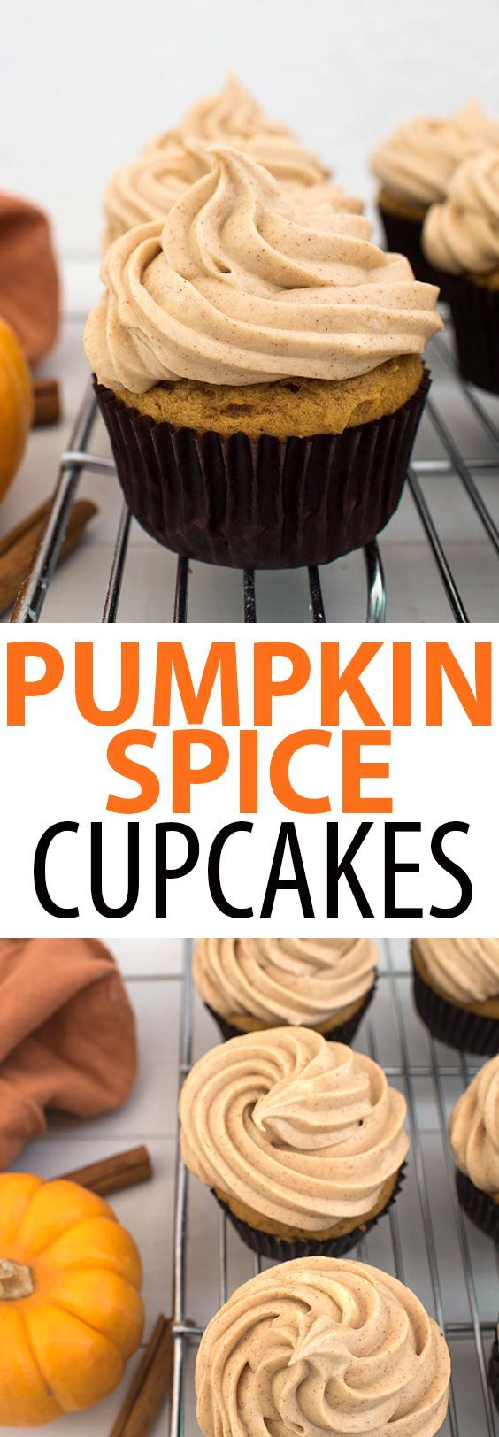 Pumpkin Spice Cupcakes with a Brown Sugar Cinnamon Cream Cheese Frosting. Tender and moist, these pumpkin cupcakes are perfect if you're craving a fall dessert! #fallrecipes #pumpkinrecipes #cupcake #cupcakerecipes #food #baking #love #desserts #cakes