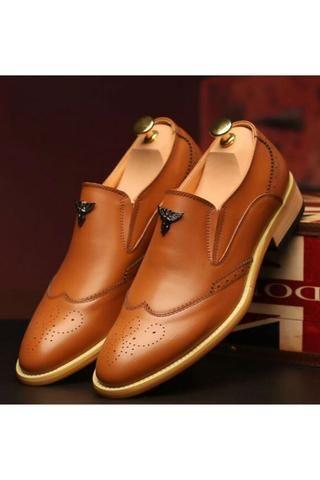 Black Brogue Dress Loafers Shoes