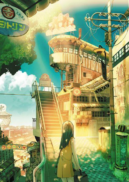 scenery, anime girl