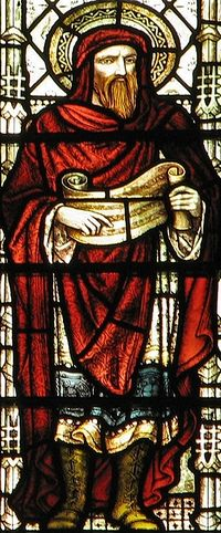 detail of a stained glass window of Saint Justin Martyr; created by either Clayton and Bell, or Hardman and Co., or both (records vary), date unknown; Great Saint Mary's Church, Cambridge, England; photographed on 30 December 2006 by Father Paul Lew; swiped from Wikimedia Commons; click for source image