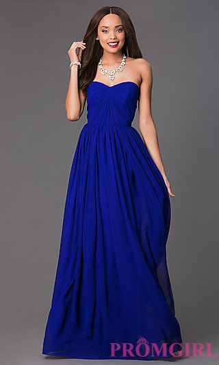 Floor Length Strapless Ruched Bodice Sweetheart Dress at PromGirl.com