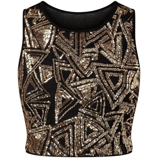 Parisian Gold Sequin Triangle Crop Top (£10) ❤ liked on Polyvore featuring tops, shirts, crop tops, blusas, gold sequin top, brown shirt, gold top, party tops and sleeveless tops