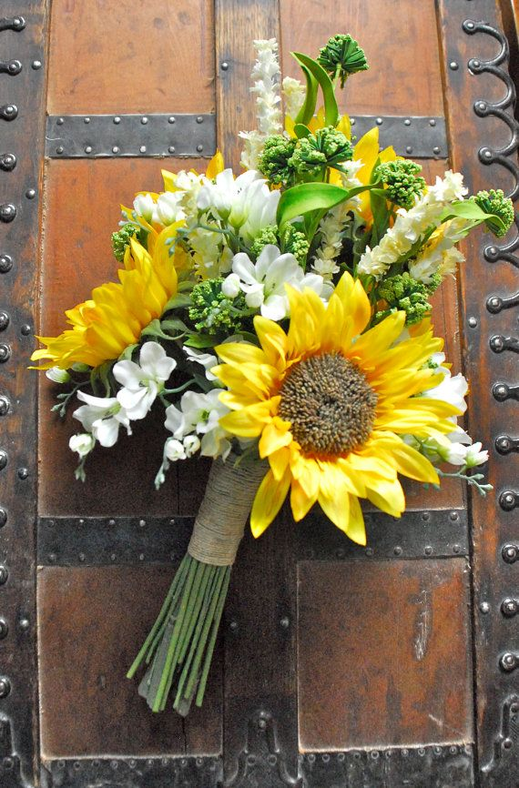 Sunflower Wedding Bouquet White and Yellow and Green by Lilywinkel