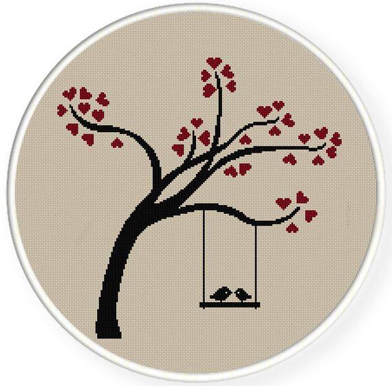 DESCARGAR INSTANT, shippingCounted gratis punto de Cruz PDF, beso de amor aves en el árbol de corazón, día de San Valentín, boda, zxxc0450