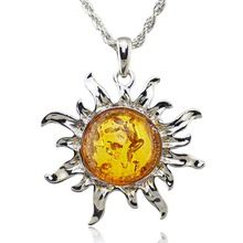 Fashion Hot Baltic Faux Amber Honey Sun Luckly Flossy Tibet Silver Pendant Necklace Jewelry L00301(China (Mainland))
