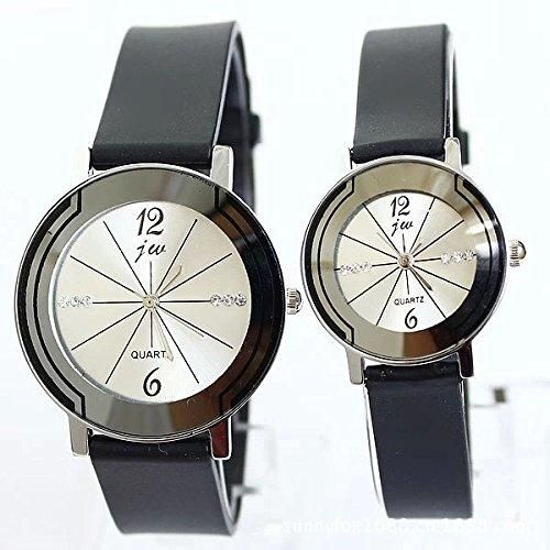Couple Watches with Crystal Decor Quartz Wristwatches for Lovers Pair in Package (Round/White)