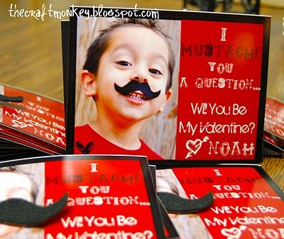 """Cut mustaches out of sticky backed felt using """"Mustaches & Glasses"""" Cricut cartridge & tack to from of Valentine so person receiving card can wear it!"""
