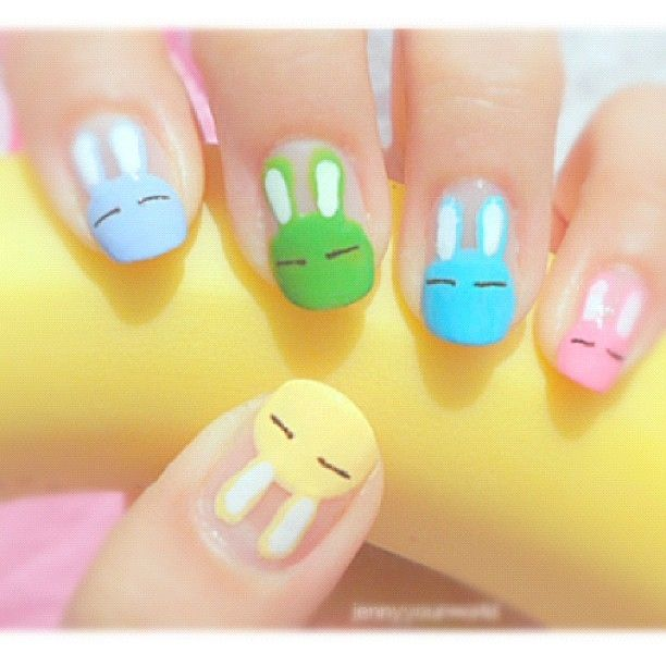 bunny rabbit nails - perfect Easter or springtime manicure - Best 25+ Cartoon Nail Designs Ideas Only On Pinterest Nail Art