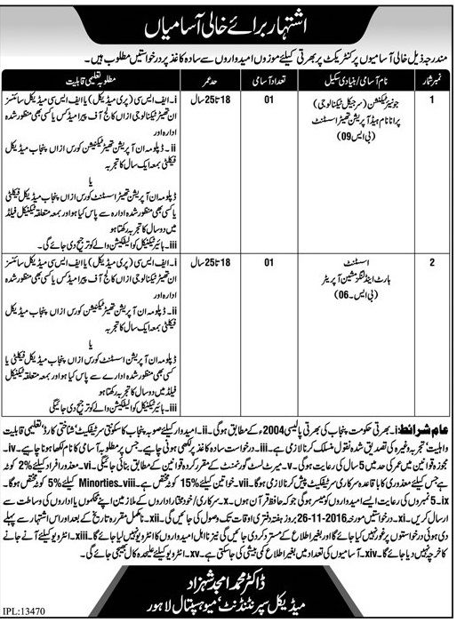 Mayo Hospital Jobs Opportunities in Lahore 11 November 2016