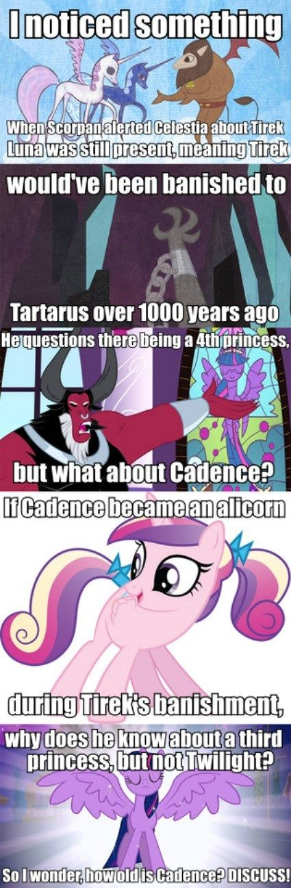 I don't think Cadence is that old, I think she was around Twilight's age when she was a foal sitter... I also don't think she was around before Luna was banished... Tirek drained Shining Armor's power, knowing he was a prince, and guessing there must be a princess of the Crystal empire, which is neither Luna or Celestia. I think Discord told Tirek about Cadence but not about Twilight... that's my guess.