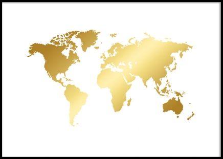 Plakat med folie i guld, verdenskort