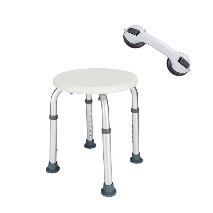 Mefeir Shower Chair Bath Stool Transfer Bench Seat, SPA Medical Bathroom Bathtub Chair No-slip Adjustable 7 Height Round with Sucker Armrest