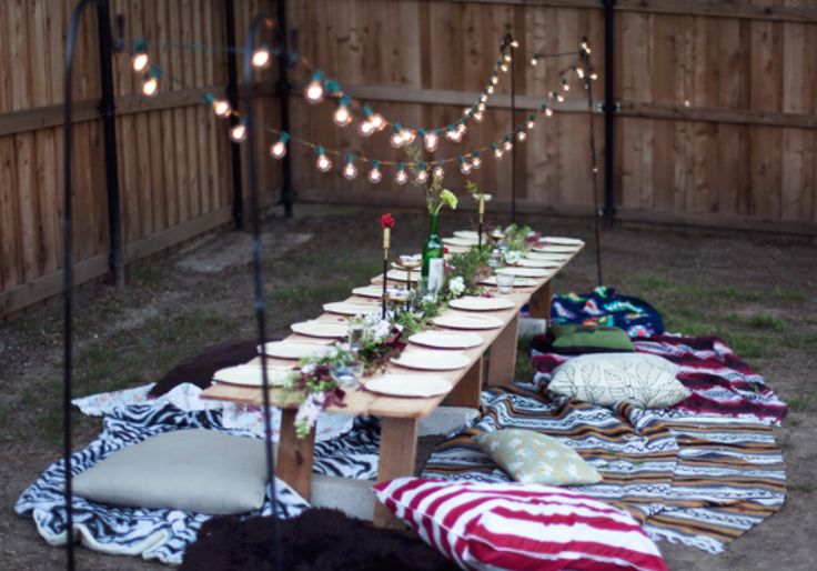 Simple outdoor party seating