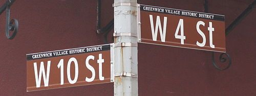 Street signs at intersection of West 10th and West 4th Streets