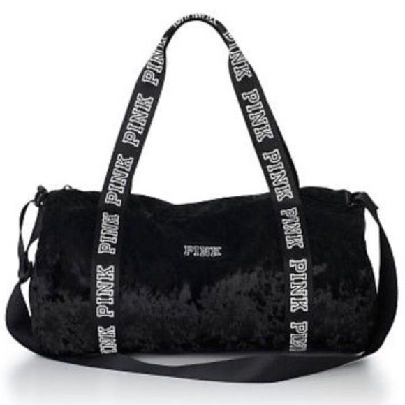 Shop Women s PINK Victoria s Secret Black size OS Travel Bags at a  discounted price at Poshmark. Description  This cute velvet Mini Duffle is  perfect for ... e7f8bf8fa2