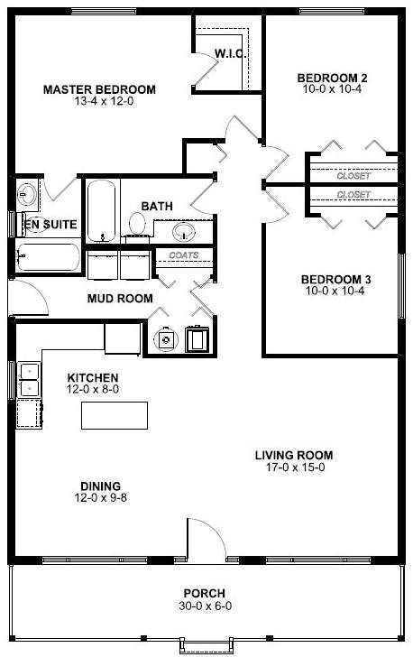 This is the exact floor plan I came up with in my head but mirrored so master bedroom and kitchen on the right not left
