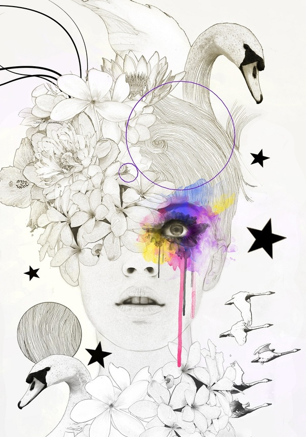 the use of a touch of colour on this mostly black and white piece is very effectice, it kinda looks like shes imagining