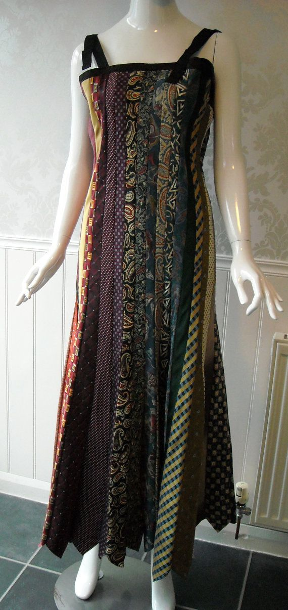 unique multicoloured figure-hugging dress made from upcycled ties