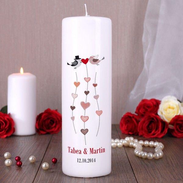 Kerze zur Hochzeit mit Namen, Datum und Herzen