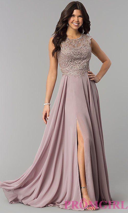 2ea98cada8 Long Chiffon Embroidered Bodice Prom Dress