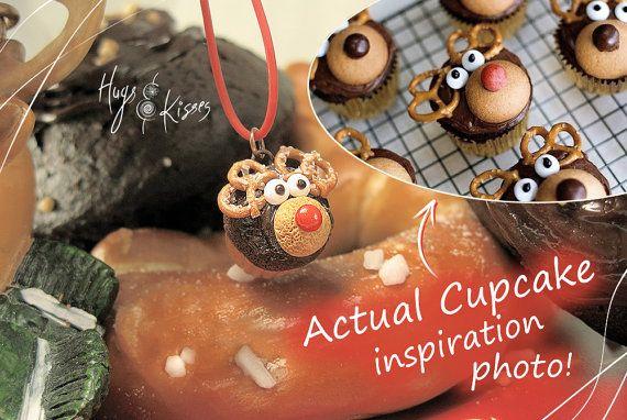 Christmas Reindeer Necklace Rudolf Cupcake by HugsKissesMINI