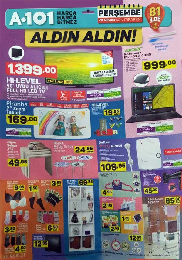 """A101 aktüel ürün indirimleri tüm hızıyla bu hafta satılacak ürünlerle devam ediyor. A101'de bu hafta20 Nisan - 27 Nisan 2017 tarihleri arasında geçerli olacak indirimli ürün fırsatlarını kaçırmayın! A101 marketlerde satılmasını istediğiniz ürünleri aşağıdaki yorum bölümünde duyurabilirsiniz! HI-LEVEL marka 50"""" boyutlu dev ekranlı televizyonu 1399 TL fiyatla a101 şubelerinde bulabileceksiniz. Üstelik bonus ve world kartınızla taksitli ödeme yapabilirsiniz. Acer notebook Es1-533-C3N9..."""