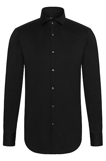 Crafted in a cotton-rich stretch poplin, this long-sleeved, slim-fit shirt offers superb comfort and an impeccable finish.   A reliable option for business wear, the shirt features a modern spread collar and squared cuffs.  Team with tailored trousers and a V-neck sweater for a pared-back professional look.