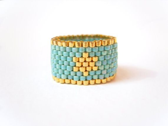 Turquoise Star Ring, Seed Bead Ring, Beaded Ring, Fashion Jewelry, Under 20