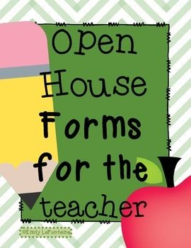 This file contains several essential paperwork items teachers need for Open House and/or Back-to-School Night, as well as additional organizational tools for use at the beginning of the year.