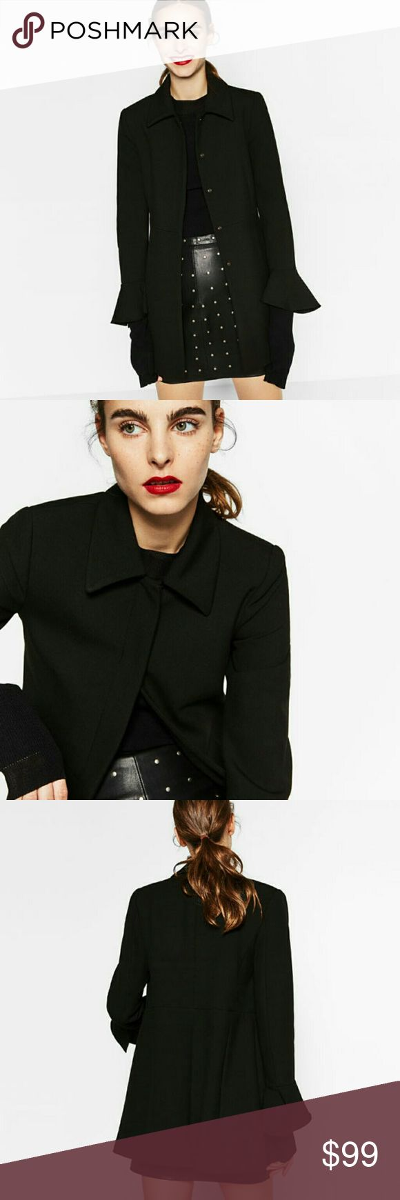 Zara Frilled Cuff Frock coat black size small New and unworn Zara Frilled Frock coat in black. Button snap closure. Size small, well made, lined & authentic! Reasonable offers considered by offer tab. From Zara AW 16 Collection. Item # 8303 Zara Jackets & Coats