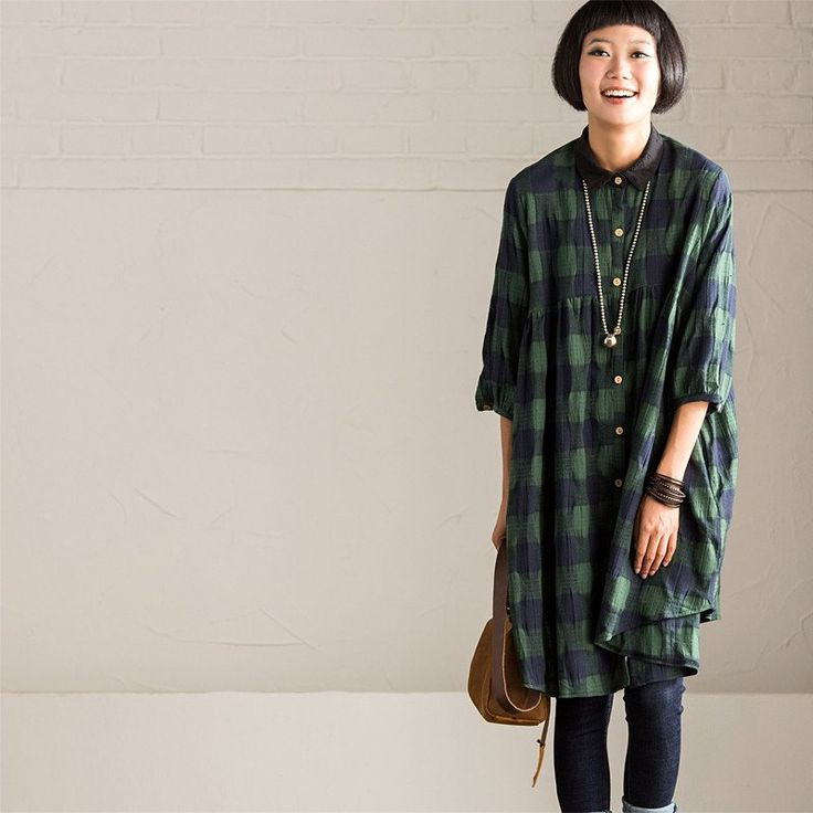Vintage High Waist Plaid Shirt  Casual Loose Sleeve Tops Women Clothes C8313A
