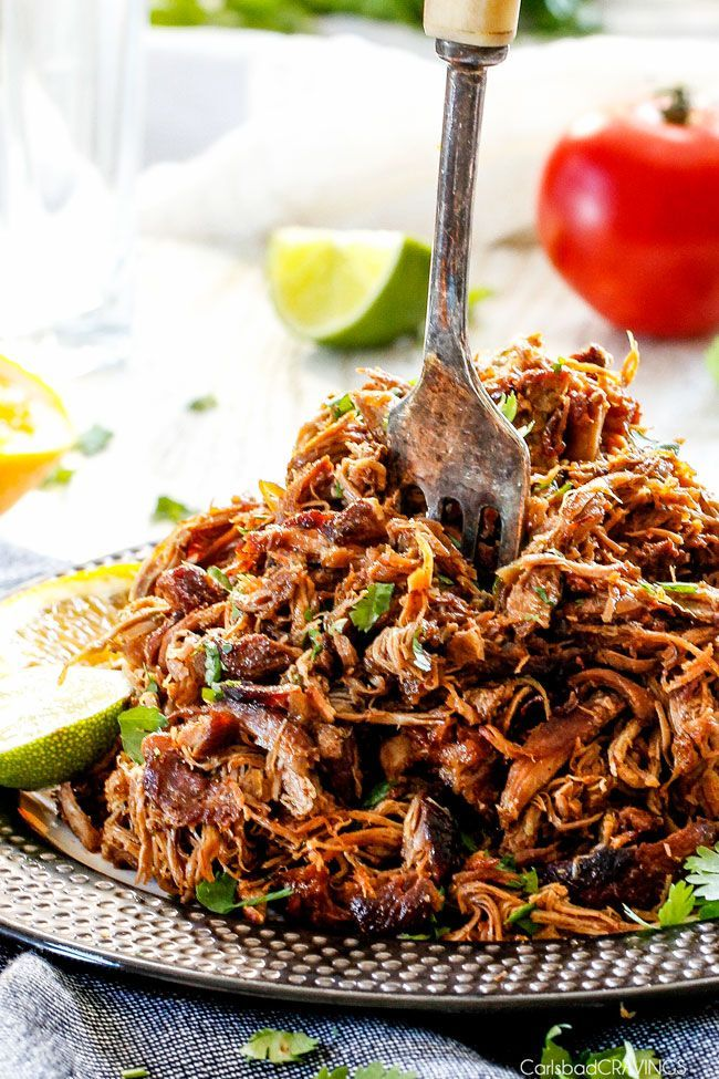 These are the BEST Pork Carnitas you will ever have! Super juicy, easy and so much more flavorful than other version with caramelized crispy burnt ends!