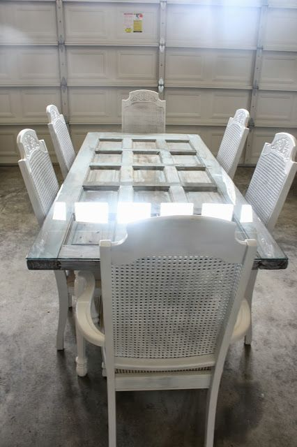 Why not #repurpose a vintage door into a dining table? It looks terrific!: http://bit.ly/1q3LYw5