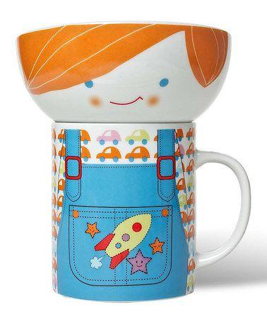 Take a look at this Blue Overalls Bowl & Mug Set by Miya Company on #zulily today!