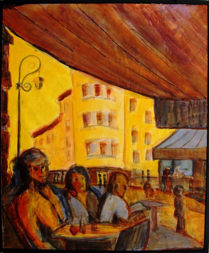 """""""Terrazas en la calle"""", acrílico sobre papel pegado a DM, 71 x 59 cm"""