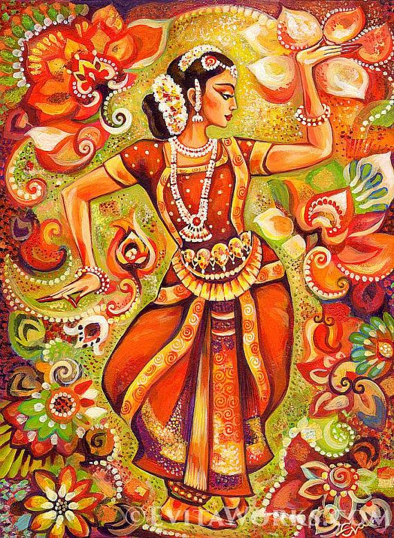 Indian classical dance painting Bharatanatyam by EvitaWorks