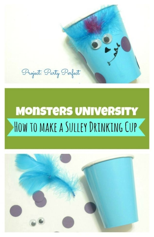 Monsters University: How to Make a Sulley Cup {Party Supplies} - http://spaceshipsandlaserbeams.com/blog/2013/07/party-crafts-and-diy/monsters-university-how-to-make-a-sulley-cup-party-supplies