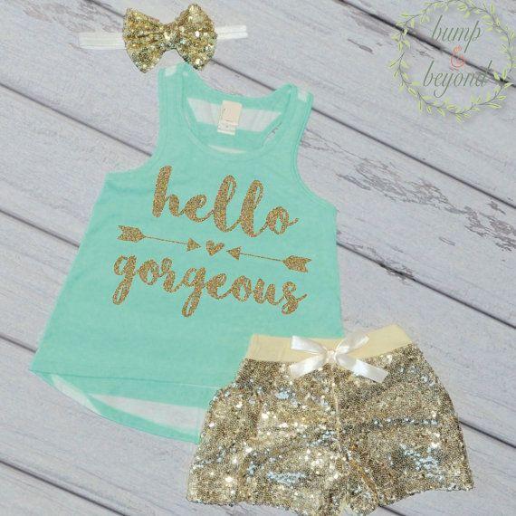 Trendy Kids Clothes Baby Girl Fashion Trendy Toddler Outfit Fashion Baby Girl Trendy Kids Clothes Girls Hello Gorgeous by BumpAndBeyondDesigns