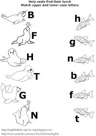 arctic animals matching upper and lower case letters worksheet