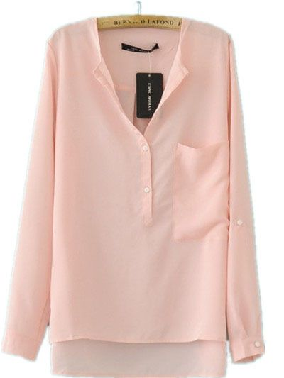 Pink Collarless Dipped Hem Long Sleeve Blouse with Front Pocket