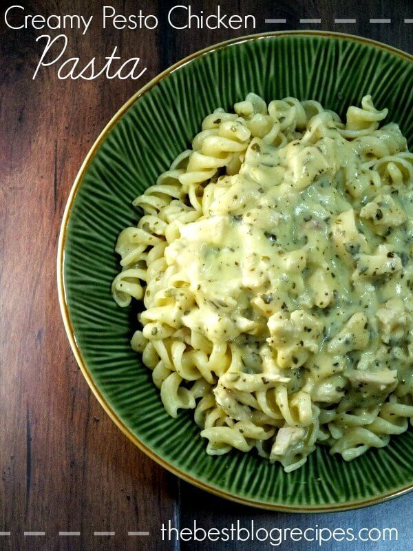 Creamy Pesto Chicken Pasta (add sun dried tomatoes, sliced black olives, shredded chicken and pine nuts for Cheesecake Heaven style pesto pasta salad!)