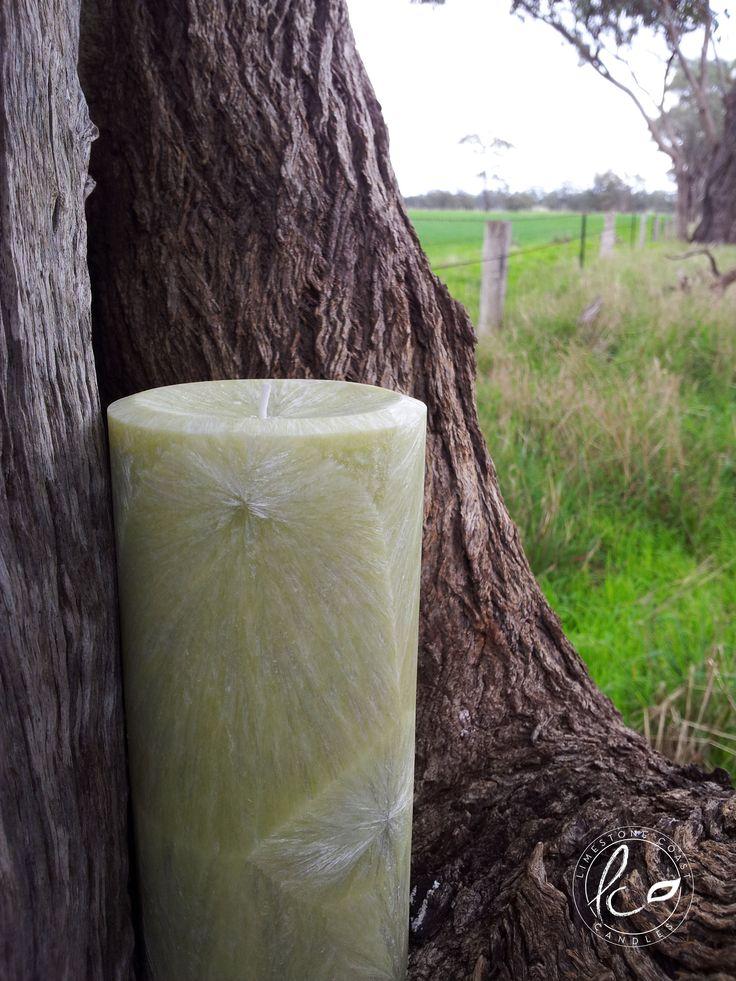 French Pear- Large avocado green shade textured pillar.