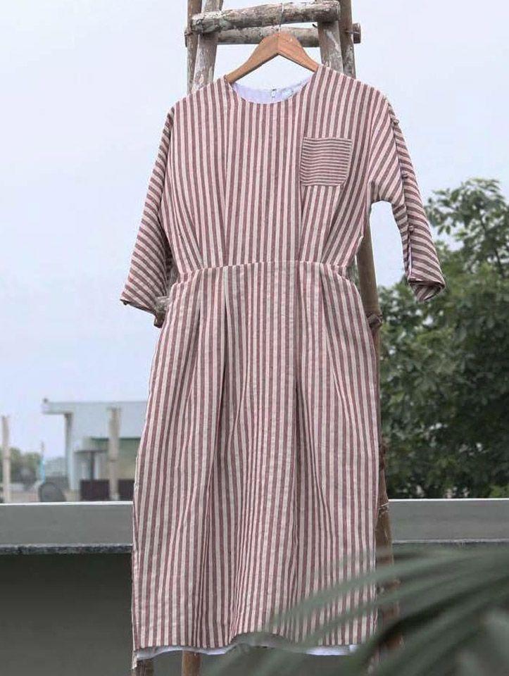 Love this striped dress by Aruni #india #fashion #indiandesigner #indiandesigner #mididress #stripeddress #reddress